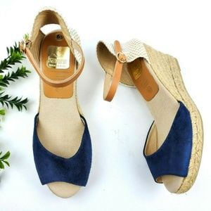 KANNA Blue Suede Jute Wedge Sandals  S15